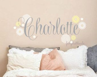 Fancy Name Wall Decal Baby Name With Flowers Roses Girl Bedroom Wall  Decorations Flowers Roses Vinyl Wall Letters Nursery Room Wall Decals New  Design   New ...