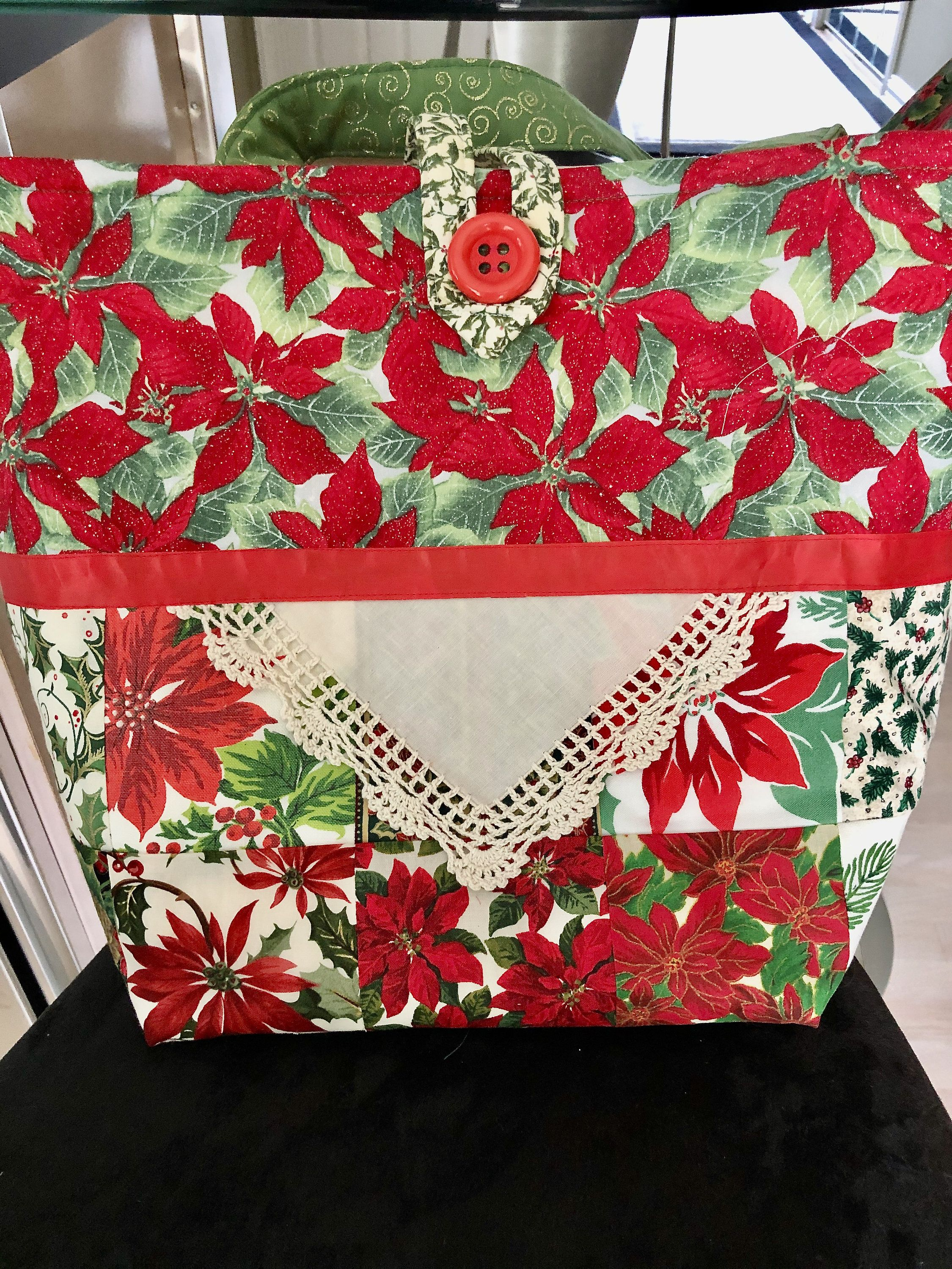 Vintage Tablecloth Chistmas Stocking  Upcycled Christmas Tablecloth Stocking  Quilted Xmas Stocking