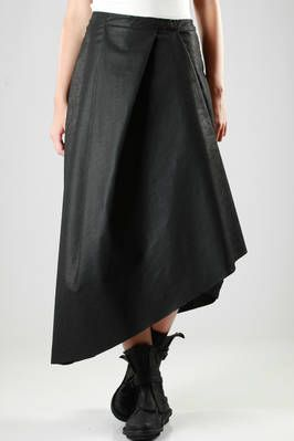 Un-Namable | long and asymmetric skirt in a paper effect polyester fabric | long and asymmetric skirt in a paper effect polyester fabric, with pleats in different directions, with press buttons | article code: 24392 | season: Autumn/Winter | composition: 100% polyester