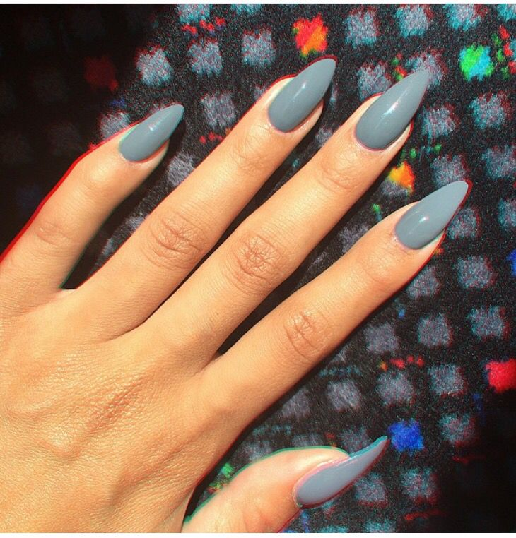 Moon Blue Nails Stiletto Nails Almond Nails