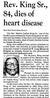 Martin Luther King Sr Newspaper Obituaries Pinterest