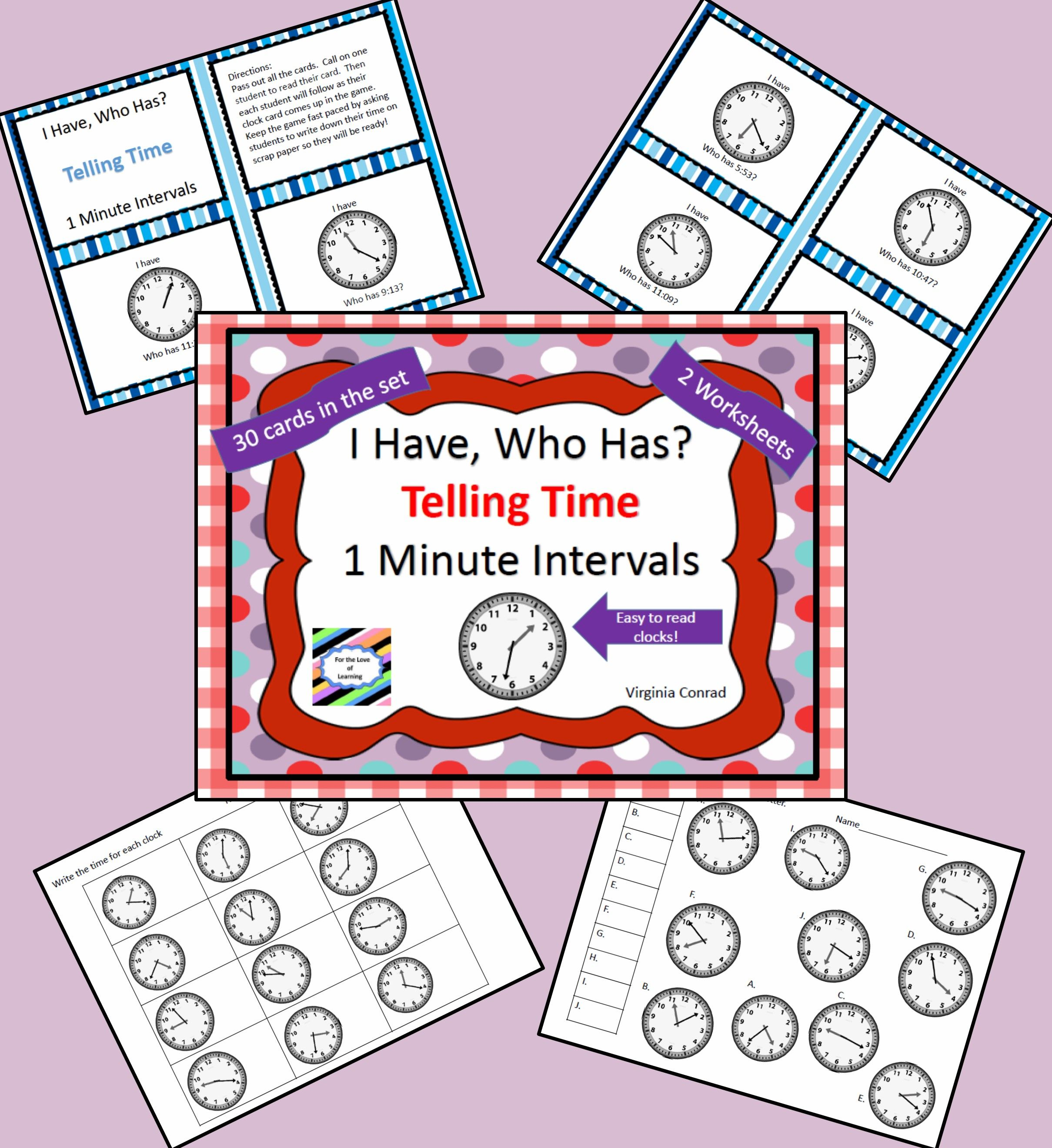 I Have Who Has Telling Time Game 1 Minute Intervals