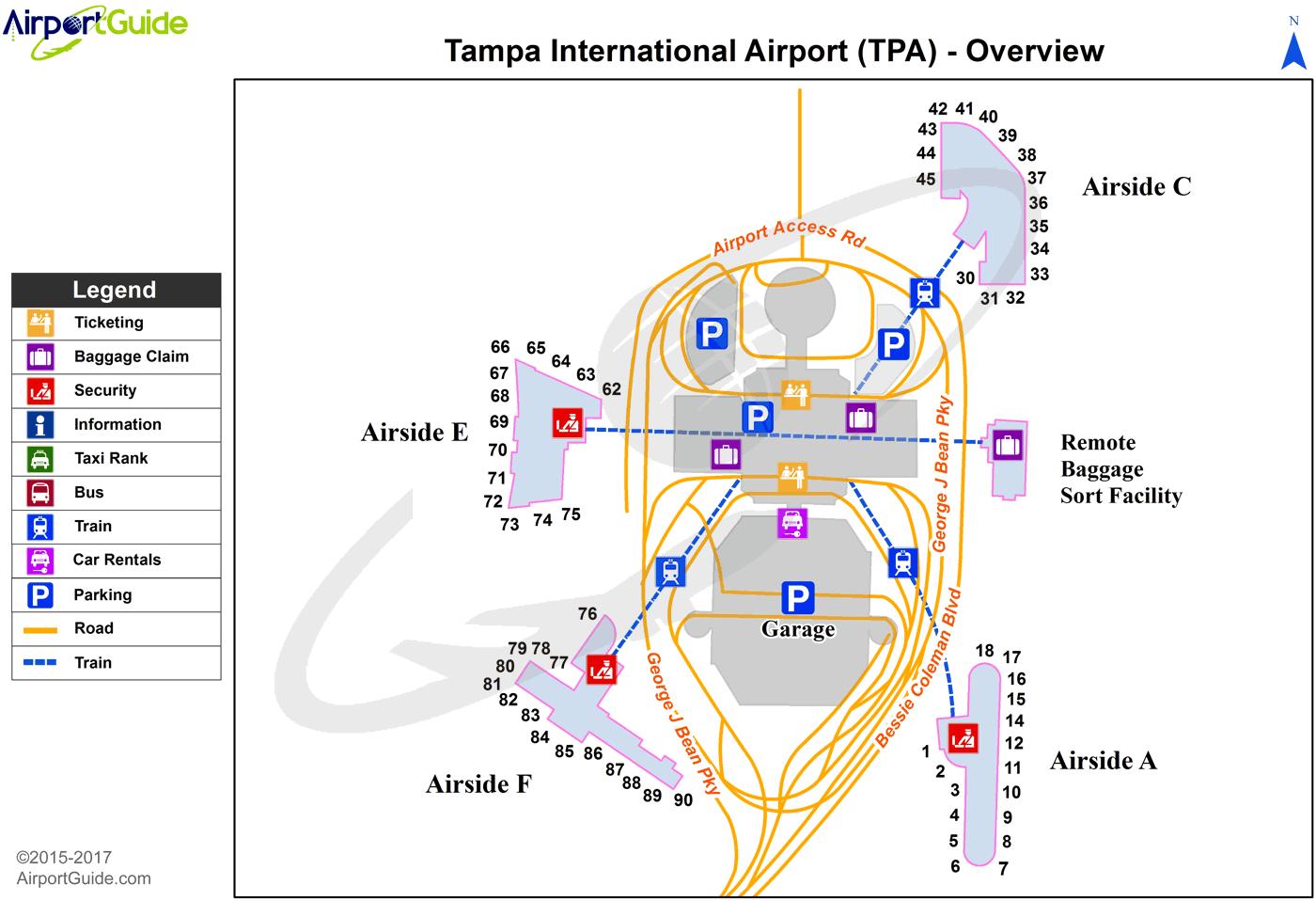 Tampa Airport Map Tampa   Tampa International (TPA) Airport Terminal Map   Overview  Tampa Airport Map