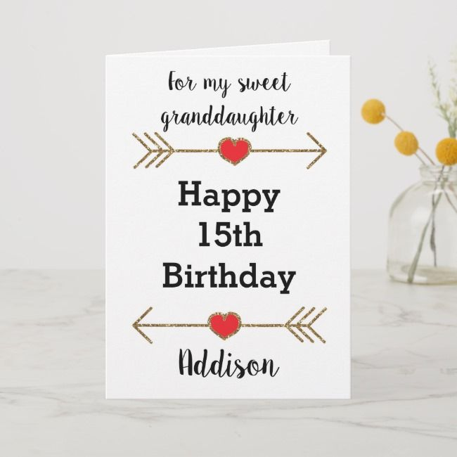 Happy 15th Birthday Granddaughter Card