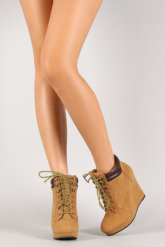 Nubuck Lace Up Wedge Work Bootie