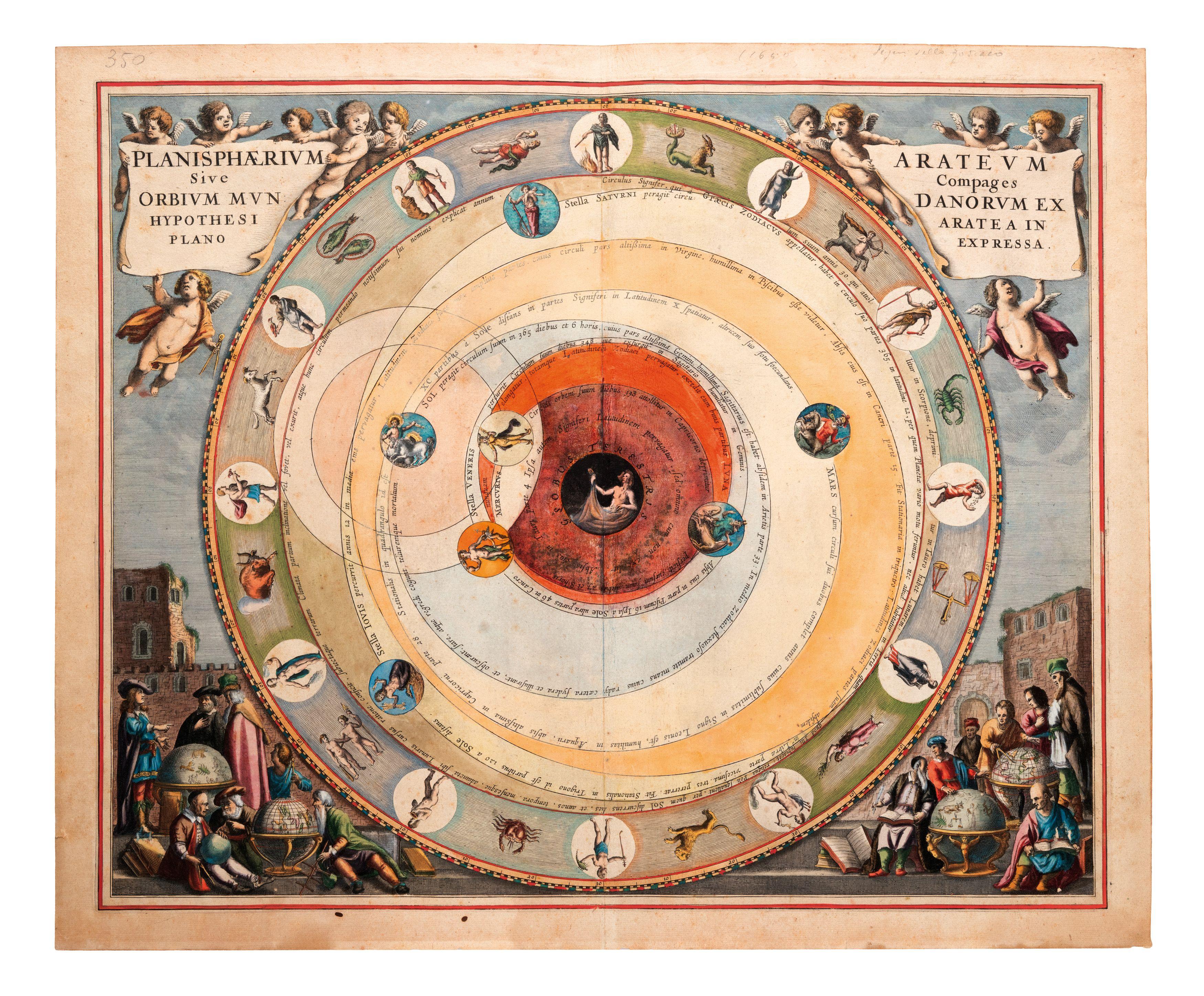 PLANISPHAERIUM ARTEUM BY ANDREA CELLARIO, 1660;  Planisphaerium Arteum. Incisione acquarellata tratta da 'Atlas Coelestis', recante al centro allegorie del globo terrestre e nella parte esterna i dodici segni zodiacali, negli angoli simboli dell'astrologia, astronomia e geografia, nel retro etichetta cartacea, con specificata l'edizione del 1660;.jpg (3500×2894)