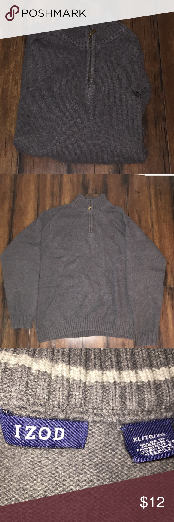 Izod Pullover Sweater Gray Izod 1/4 zip Pullover sweater. Excellent condition.  Gray. Izod Sweaters Zip Up