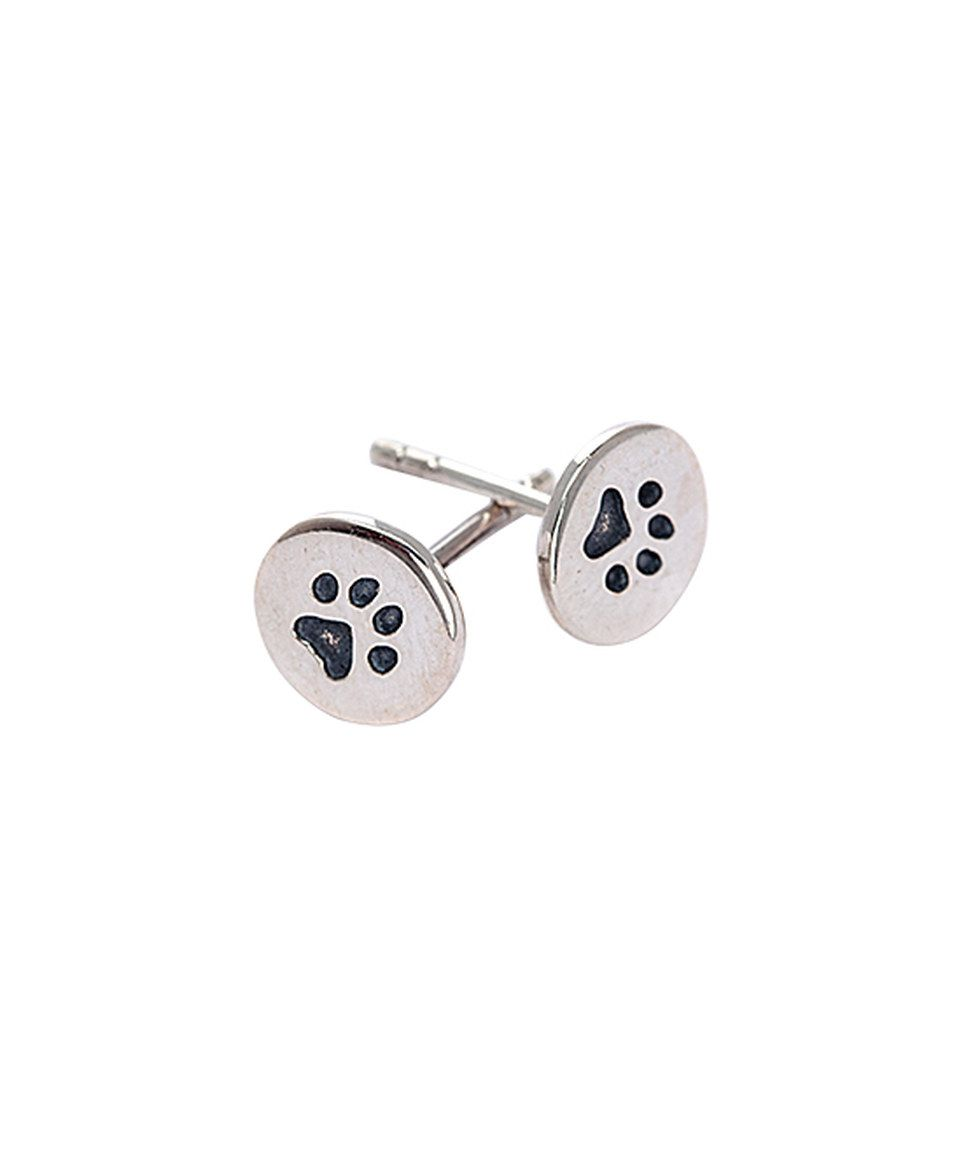 Love this Ag Sterling Jewelry Sterling Silver Paw Print Round Stud Earrings by Ag Sterling Jewelry on #zulily! #zulilyfinds