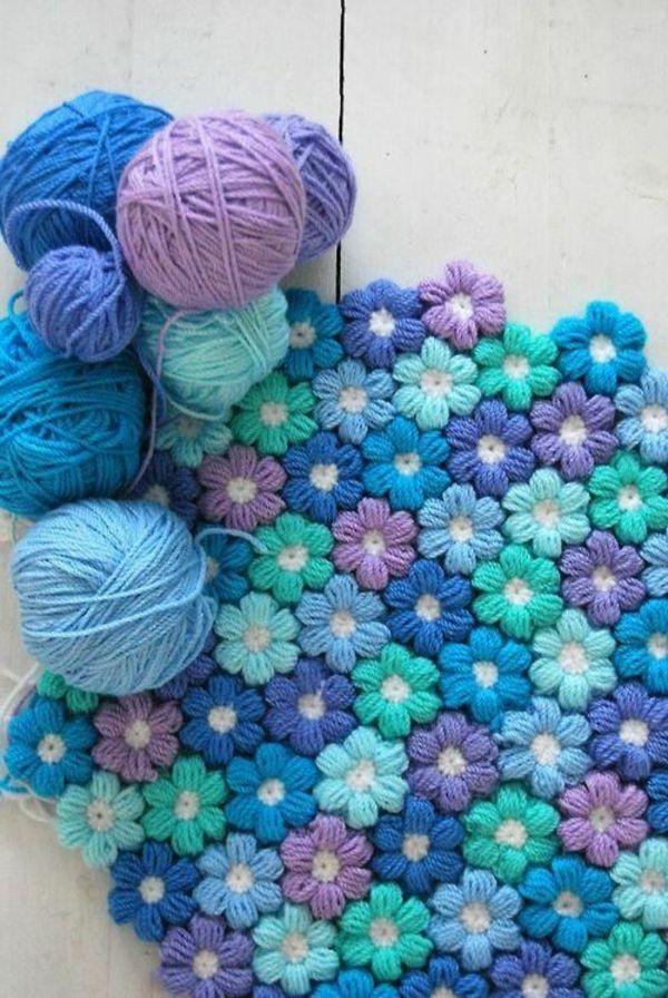 Resultado de imagen de alfombras flores a crochet