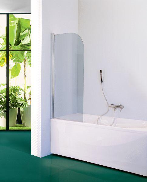 �cran de baignoire orientable, gauche ou droite, avec joint inf�rieur coupl� � une articulation � Came int�gr�e et rotation du panneau � 180�