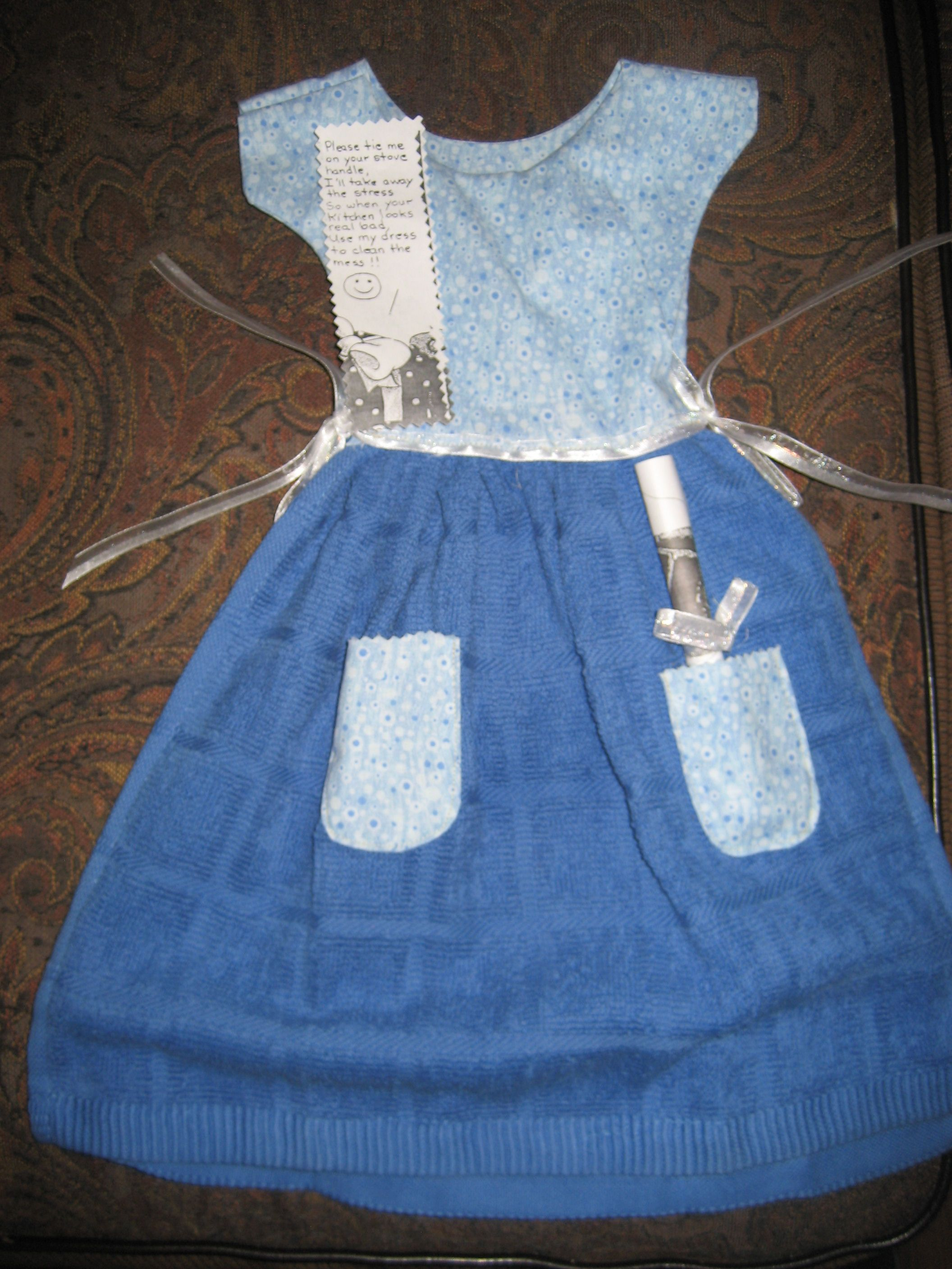 I made this Cute little girls dress top and Kitchen towel bottom ...