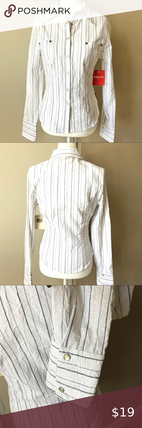 I just added this listing on Poshmark Guess striped long sleeves shirt