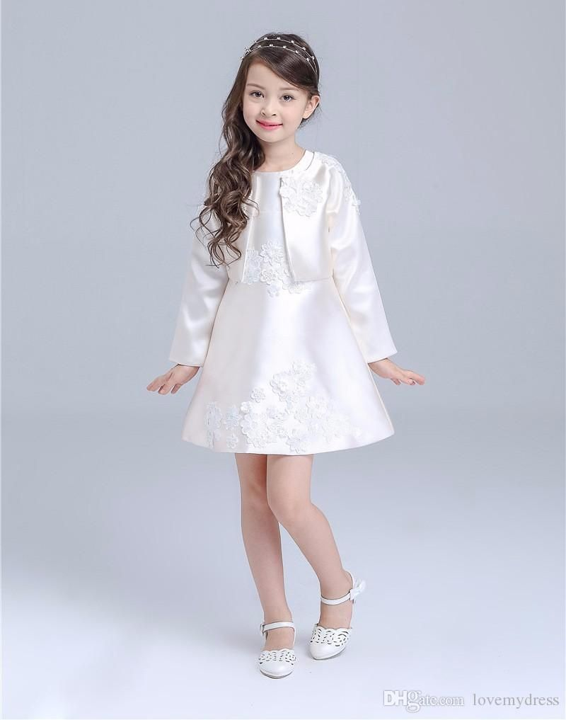 5ee5b0ad8325 Satin Cheap Flower Girls  Dresses Short Mini Gown Appliques Zipper Back  Dress With Jacket Sweet