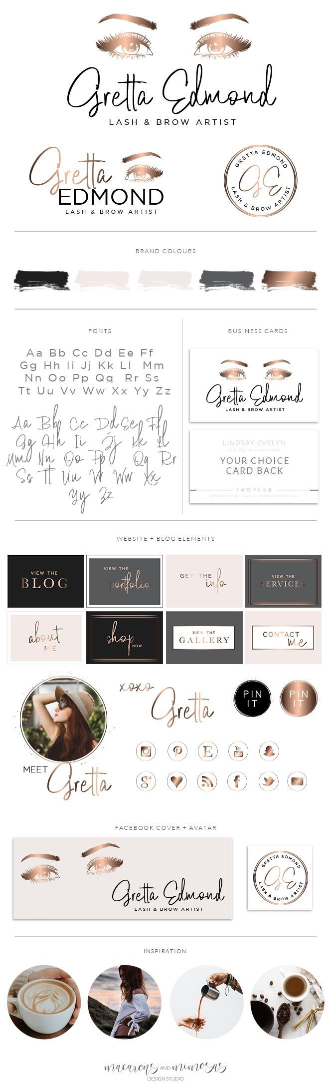 Gretta Edmond Logo Set | Macarons and Mimosas Design Shop | Makeup