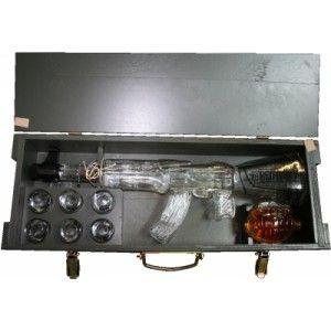 AK 47 Legendary Kalashnikov rifle shaped 0.7 L. bottle of Vodka and 0.5 L. Granade shaped bottle of liquor.