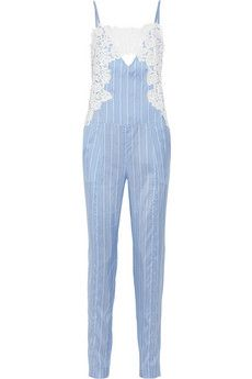 Thakoon Lace-trimmed striped silk jumpsuit $1220 via NET-A-PORTER #shopping #style #fashion