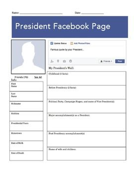 president facebook page worksheet worksheets homework and students. Black Bedroom Furniture Sets. Home Design Ideas