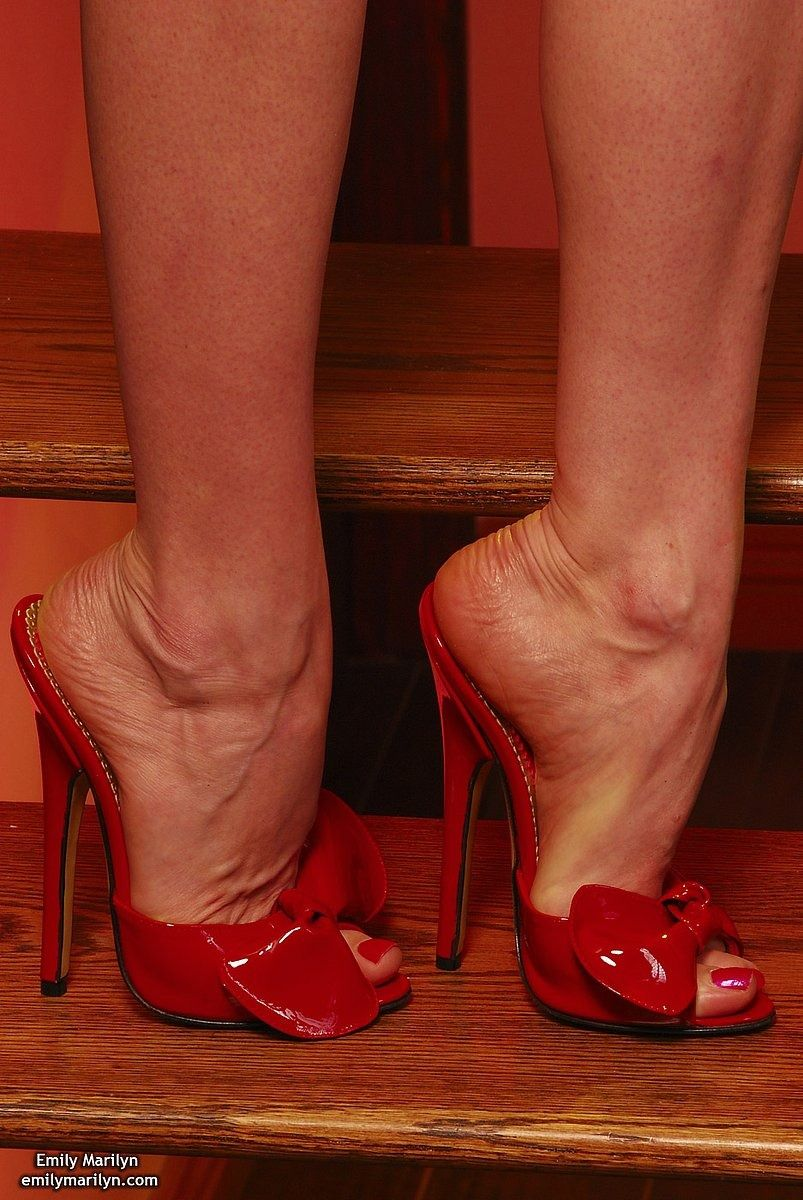 Shoes Heels Boots · what a great fun to give cum over her red whore nails  and extravagant whore mules