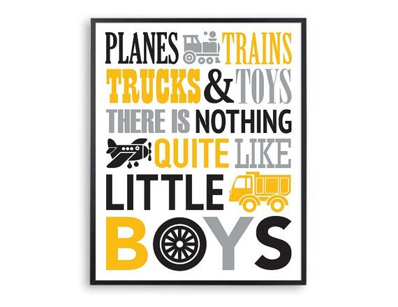 Yellow grey and black Planes trains trucks and toys by Especia