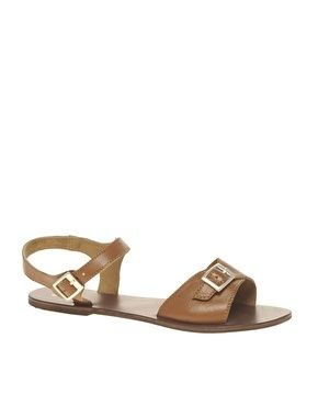 ASOS FLUTTER Leather Flat Sandals with Buckle Detail - StyleSays
