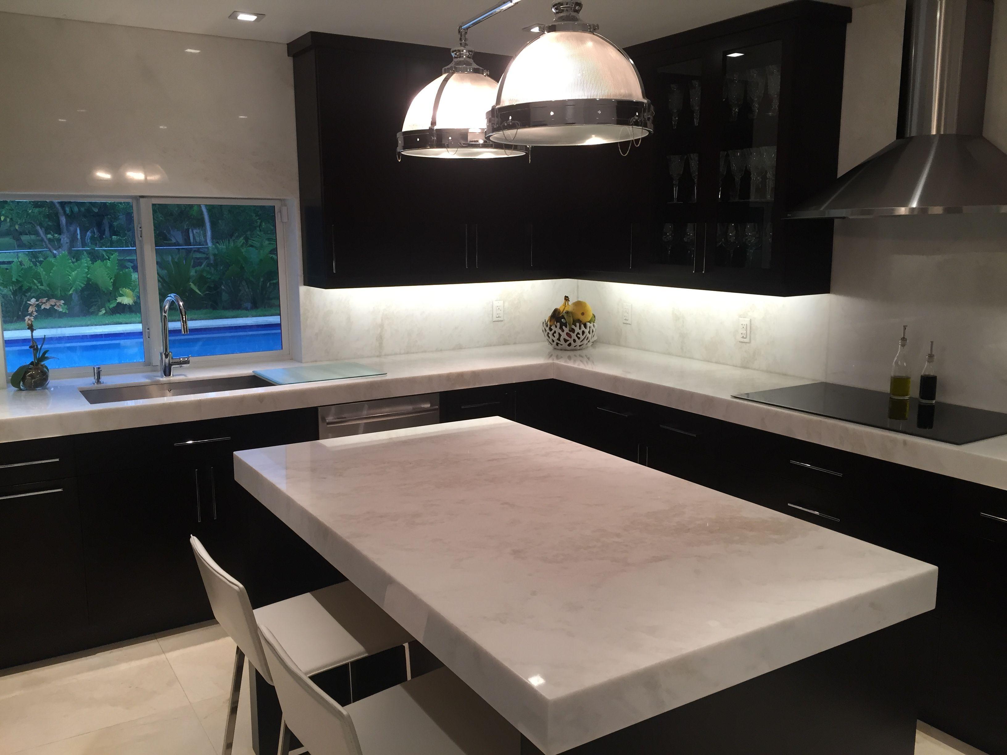 Mystery White Marble Slab Kitchen Countertop South Miami