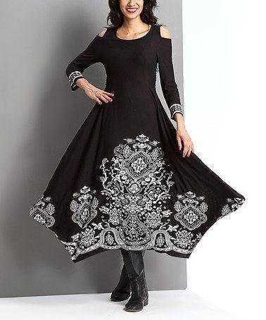 1695b5c0fe Look at this  zulilyfind! Black Tapestry Cutout Handkerchief Maxi Dress   zulilyfinds
