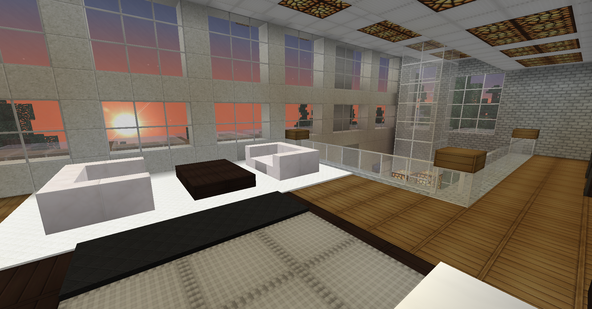 Minecraft survival modern house interior loft master bedroom loft sitting area large windows