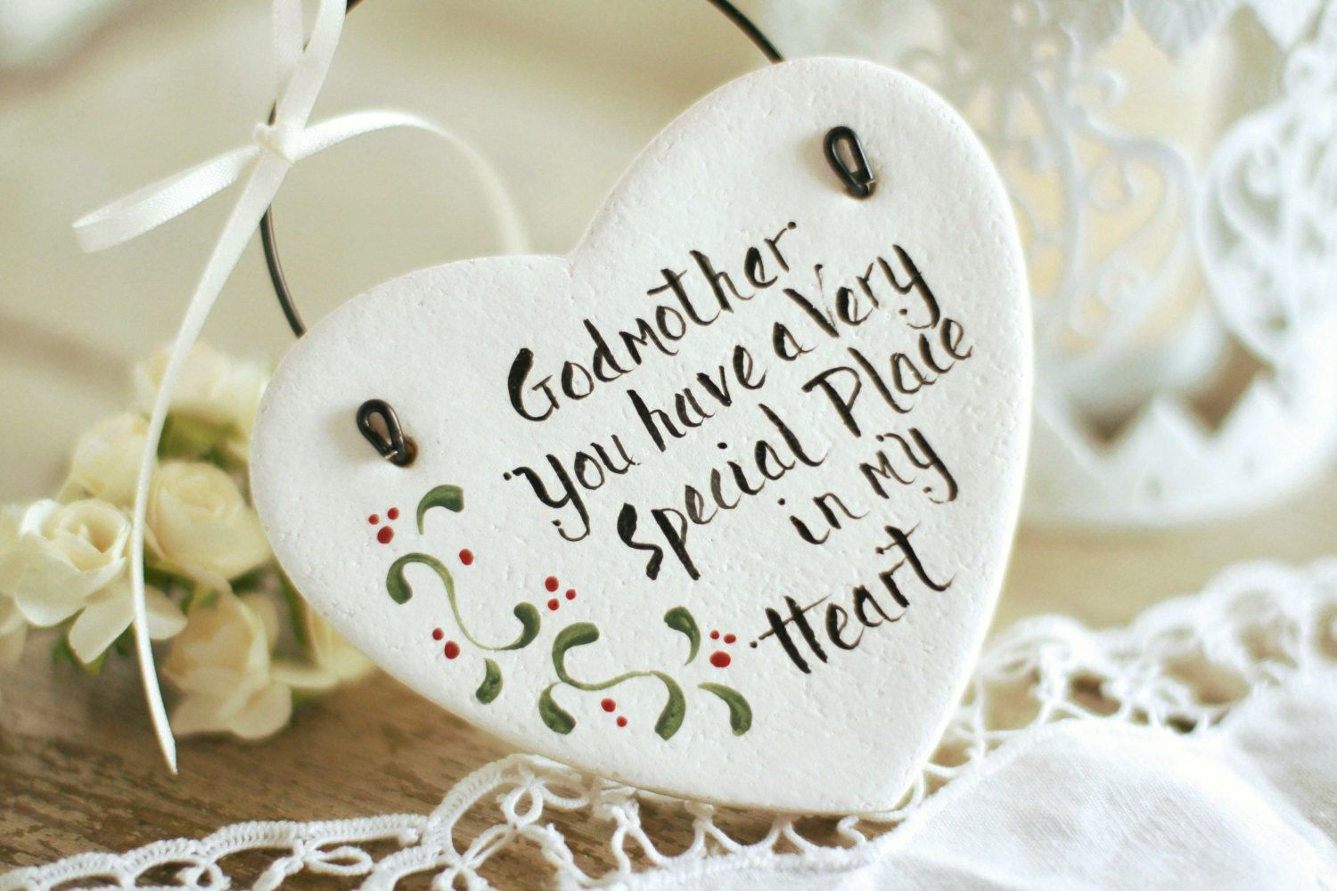 Personalized Godmother gift salt dough heart hanging ornament ...