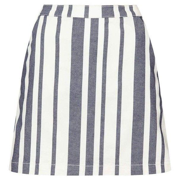Topshop Moto Stripe Denim Skirt (48 BRL) ❤ liked on Polyvore featuring skirts, a line denim skirt, topshop skirts, knee length denim skirt, denim skirt and knee length a line skirt