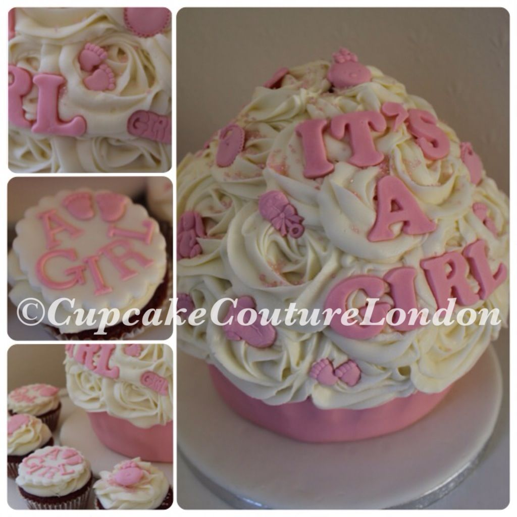 Baby shower giant cupcake for a girl all pretty in pink x for Cupcake recipes for baby shower girl