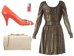brown shiny dress by bill