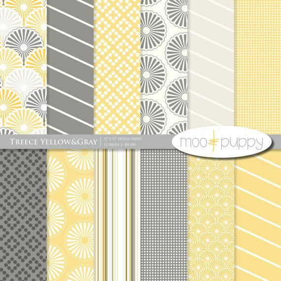 Yellow And Gray Digital Scrapbook Paper Pack By Mooandpuppy Https