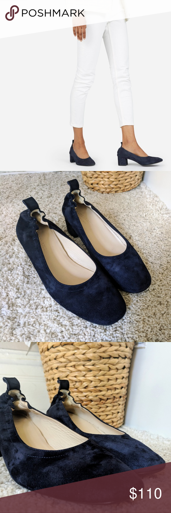 014f5e4acb2 Everlane Day Heel in Navy Suede, size 7 EUC, worn a few times but ...