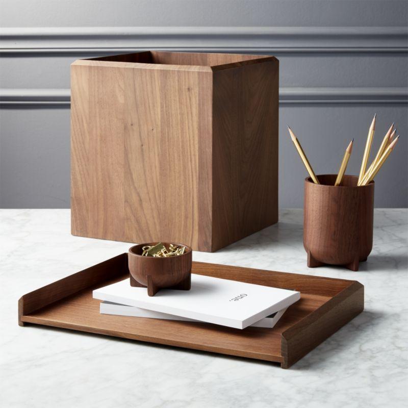 Shop Walnut Desk Accessories Solid Walnut Wood Desk Accessories Make A Handsome Home For Memos To Dos Writing Uten Walnut Desks Wood Accessories Walnut Wood