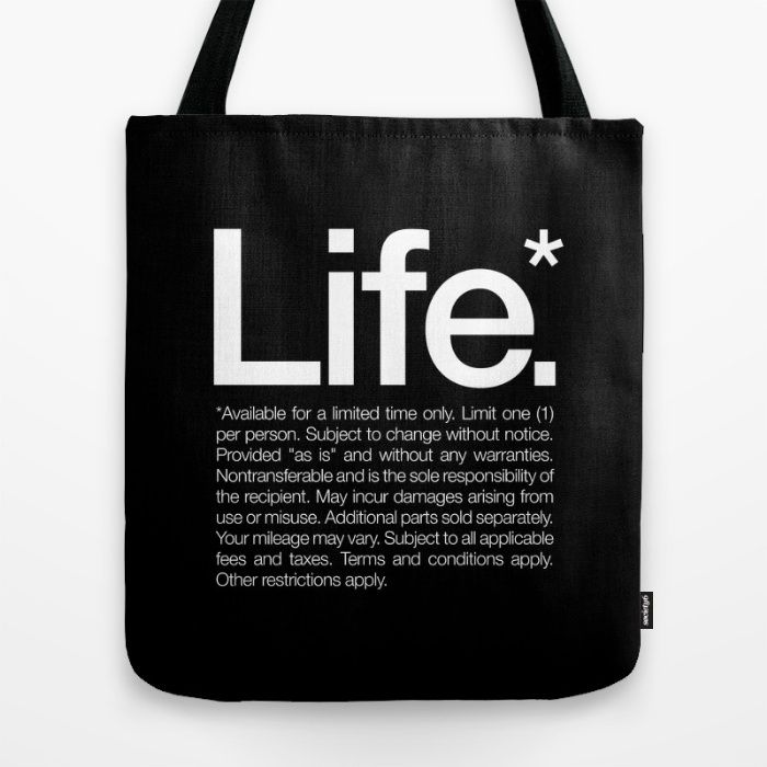 Life.* Tote Bag, Monochrome decor trend, trend pillow, typography, quote, black & white decor, trendy tote bag, black tote bag, motivational quote bag