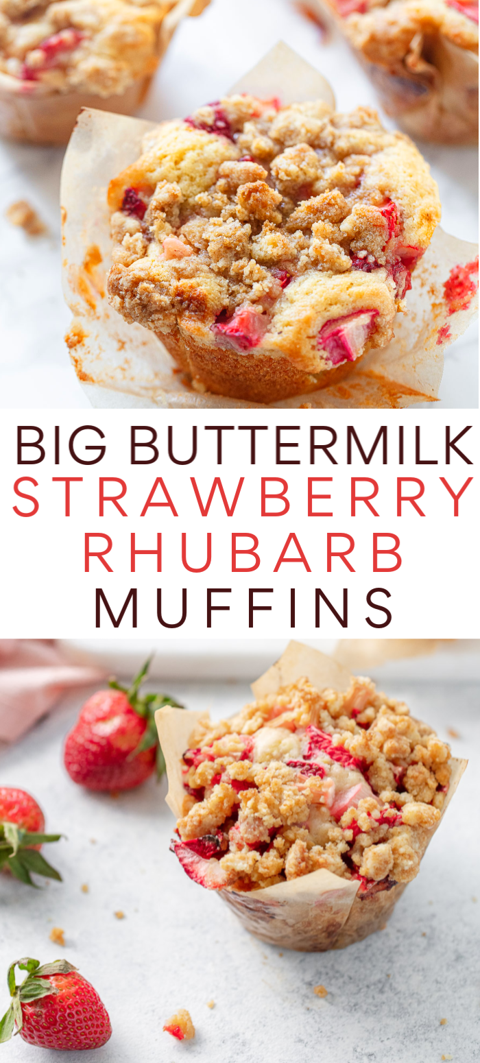 Big Buttermilk Strawberry Rhubarb Muffins In 2020 Strawberry Rhubarb Muffins Rhubarb Muffins Breakfast Recipes Easy