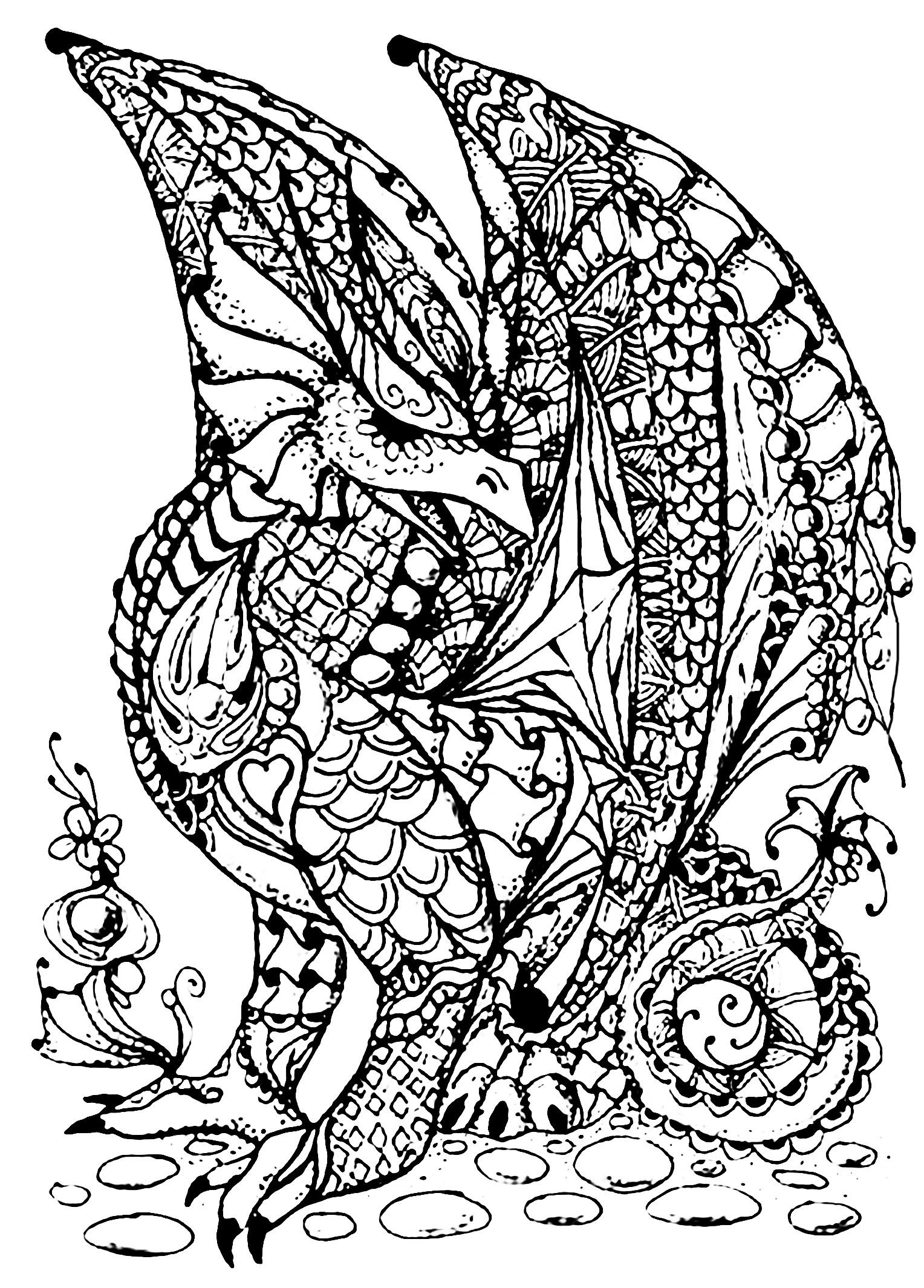 Best of dragon mandala coloring pages Free Dragon full