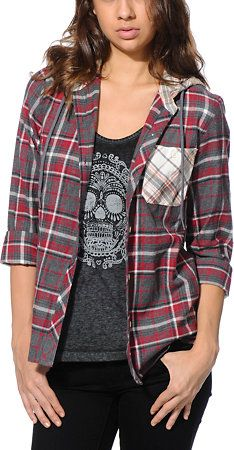 6423bc3f Empyre Cambridge Red Hooded Flannel Shirt   Clothes   Hooded flannel ...