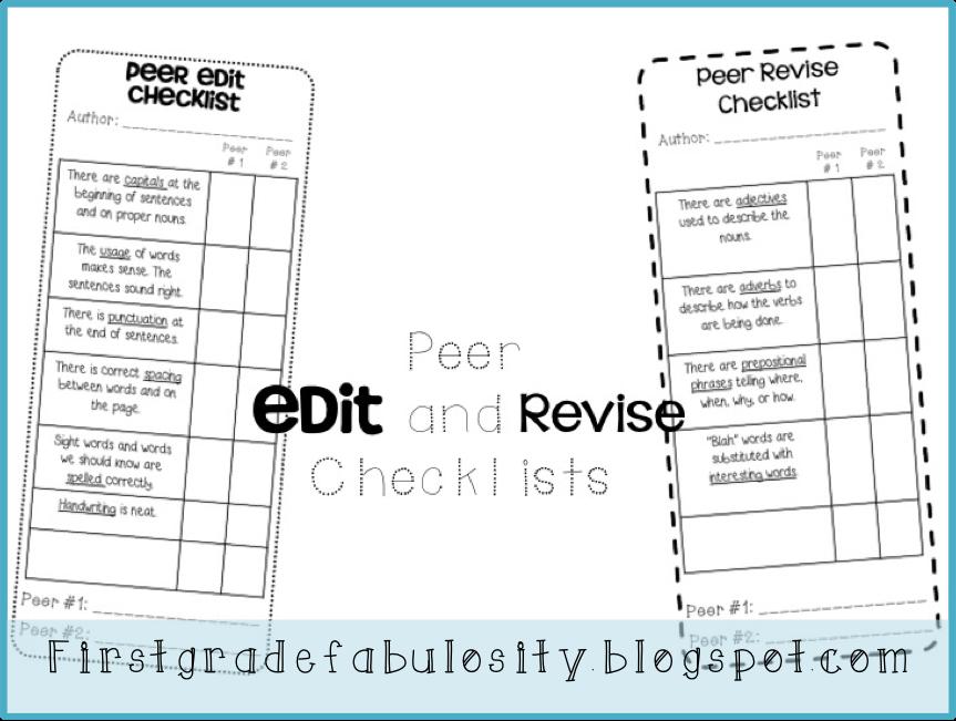 First Grade Fabulosity Freebie Edit and Revise Checklist – Peer Editing Worksheet