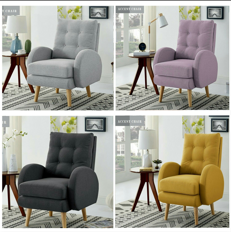 Tall Wingback Arm Accent Chair Club Seat Single Sofa