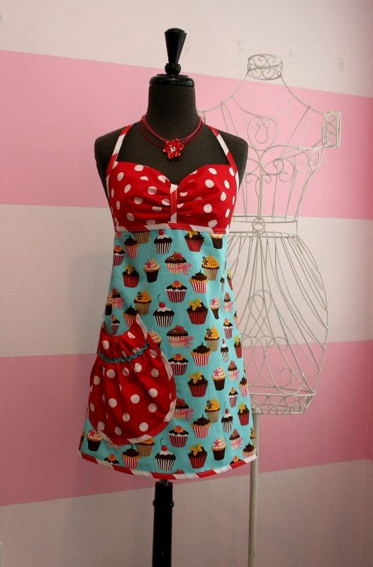 women's cupcake apron full designer kitchen apronkitchenglam