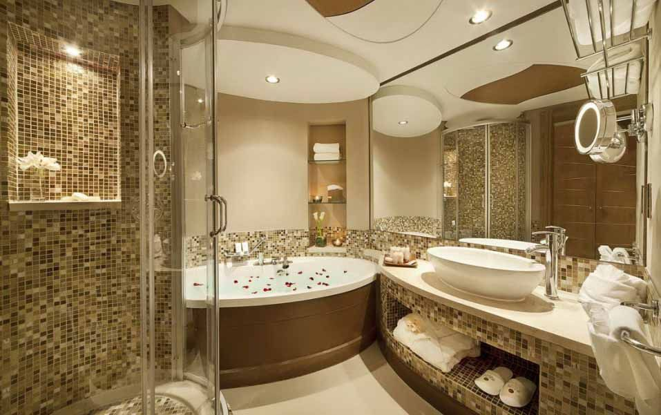 Gold Shade Luxurious Bathroom Design Ideas Mosaic Tiles Patterned Wall And Panels Round Shaped Shower Enclosure Oval White Bathtub Curvy Vanity