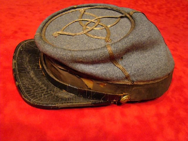 17eff425 Louisiana Officer's Kepi. Rare and completely original. Confederate gray  cloth is in great shape. The tarred brim is complete but has separated  behind the ...