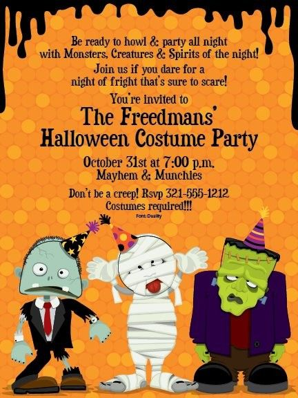 Costume Party Invitations Happy Halloween Greeting Cards