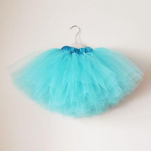 Falda tut para ni a hecha a mano de tul de color azul - Como hacer color turquesa ...