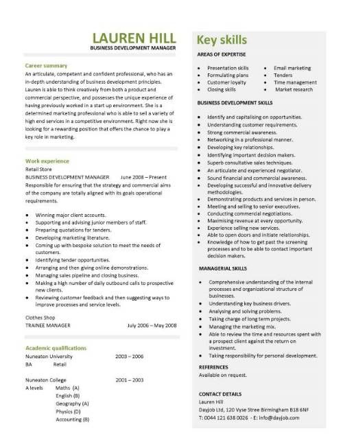 Business development manager CV template, managers resume - commercial officer sample resume