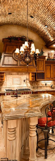 Brick Ceiling Mediterranean Kitchen Design Tuscan Kitchen