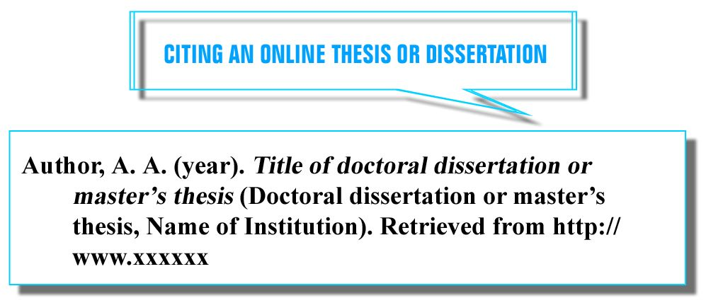 Citing Online Source In Apa Style For Your Reference Page 6th Edition Dissertation Citation