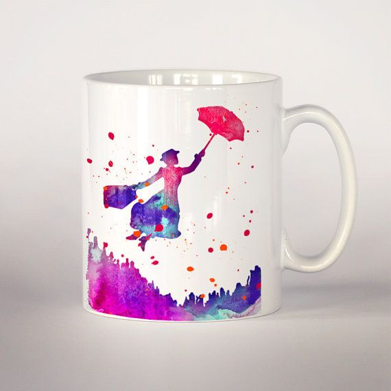 Mary Poppins Coffee Mug Mary Poppins Watercolor Tea Cup Coffee