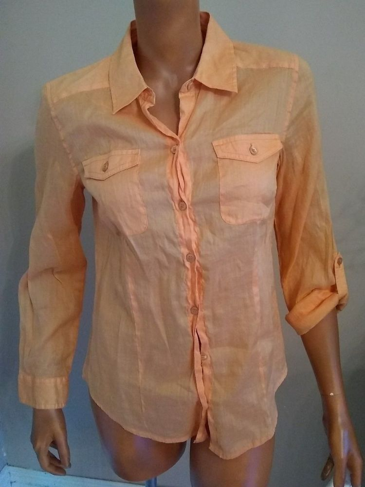 b23f86c7ee25f2 Chicos Blouse SZ 0 Solid Orange Semi Sheer Button Front Top Roll Tab Sleeve   Chicos  Blouse  Career